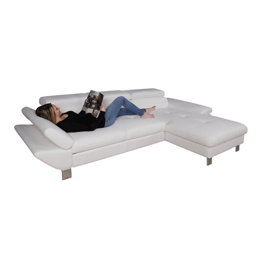Eurosace Luxury Stone Sectional Sofa with Chaise Lounge - Top Grain Italian Leather