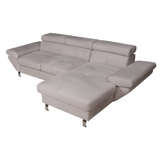 Eurosace Luxury Stone Sectional Sofa with Chaise Lounge - Italian Fabric