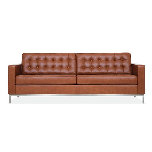 EQ3 Reverie Leather Convertible Loveseat