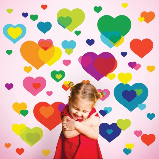 WallCandy Arts Just For Fun Overlapping Hearts Wall Decal 50 Piece Set