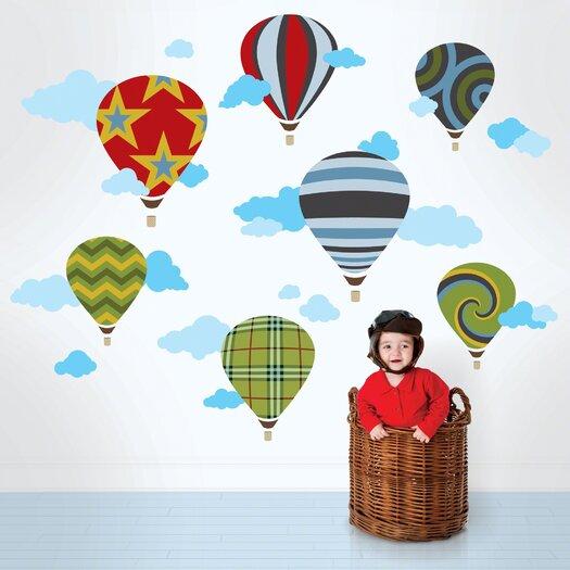 WallCandy Arts Hot Air Balloons Wall Decal 46 Piece Set