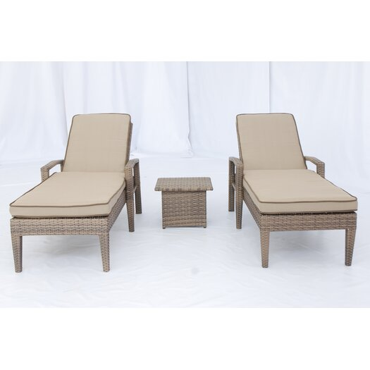 Creative Living Ferrara 3 Piece Chaise Lounge Set with Cushions