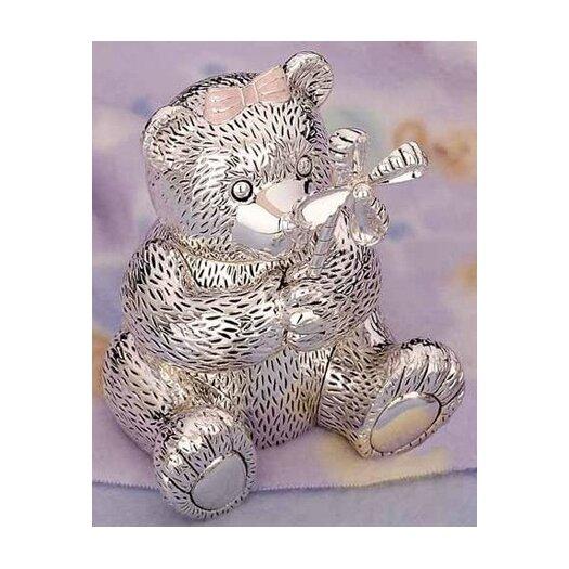 "Reed & Barton Children's Giftware 5.13"" Girl Bear with Pinwheel Bank"