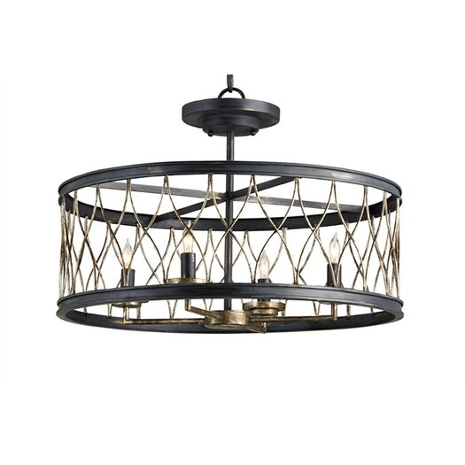 Currey & Company Crisscross 4 Light Drum Pendant