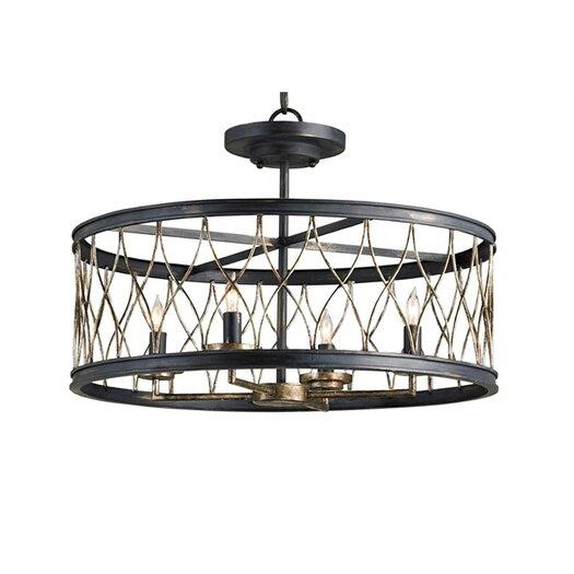 Currey & Company Crisscross 4 Light Drum Pendant