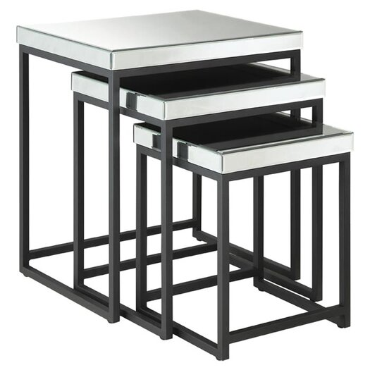 OSP Designs Krystal 3 Piece Nesting Table Set
