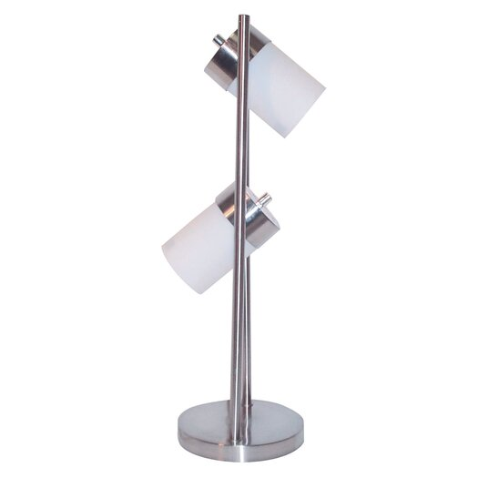 """ORE Furniture Frosted 2 Light Adjustable 25"""" H Table Lamp with Drum Shade"""