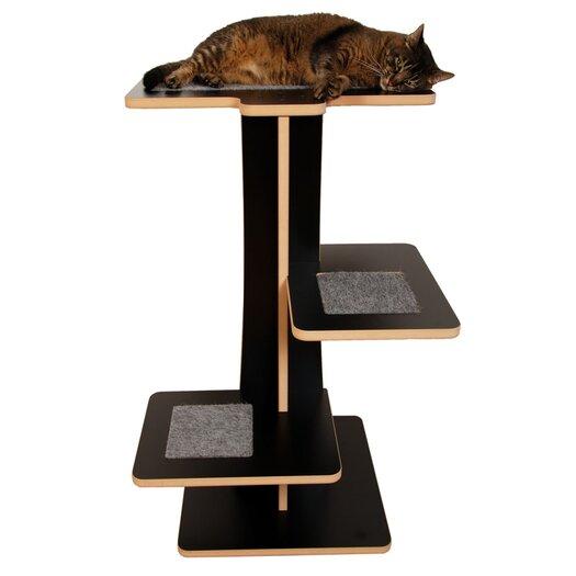 """Square Cat Habitat 36"""" Acacia Cat Tree"""