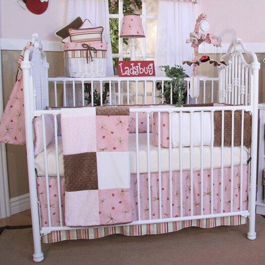 Brandee Danielle Pink Ladybugs and Dragonflies 4 Piece Crib Bedding Set