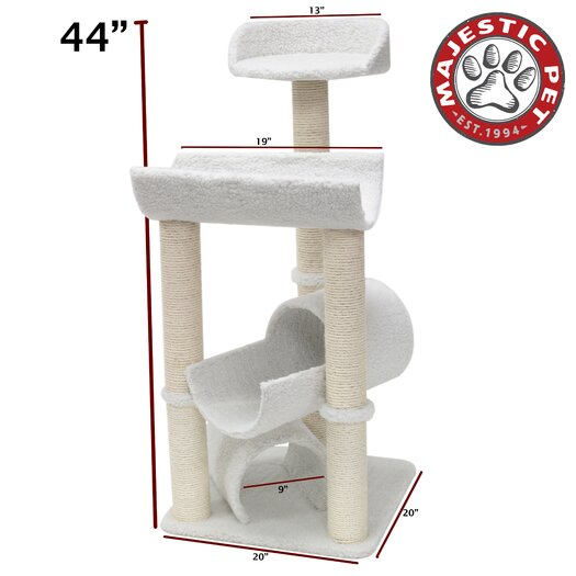 "Majestic Pet Products 44"" Bungalow Sherpa Cat Tree"