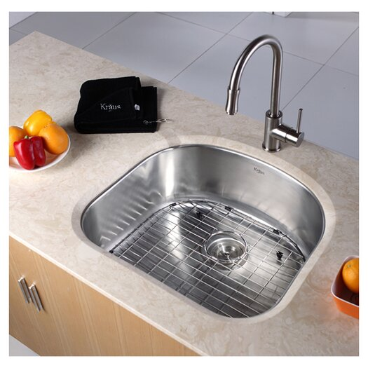 "Kraus 23.25"" x 20.88"" Undermount Single Bowl Kitchen Sink"