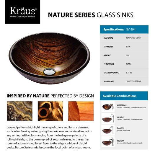 Kraus Titania Glass Vessel Sink with Waterfall Faucet