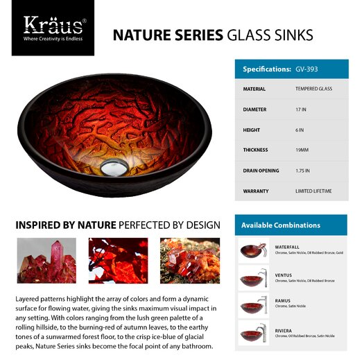 Kraus Nix Glass Vessel Sink with Ventus Faucet