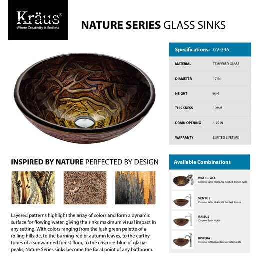 Kraus Dryad Glass Vessel Sink with Ventus Faucet
