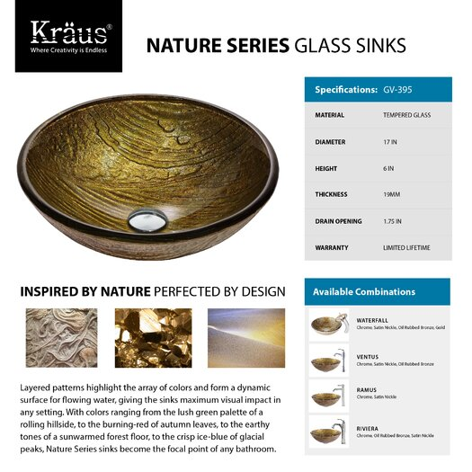 Kraus Terra Glass Vessel Sink with Riviera Faucet