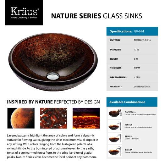 Kraus Prometheus Glass Vessel Sink with Riviera Faucet