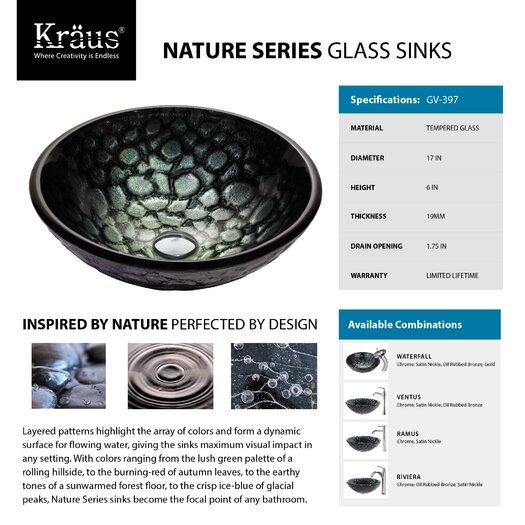 Kraus Kratos Glass Vessel Sink with Ramus Faucet