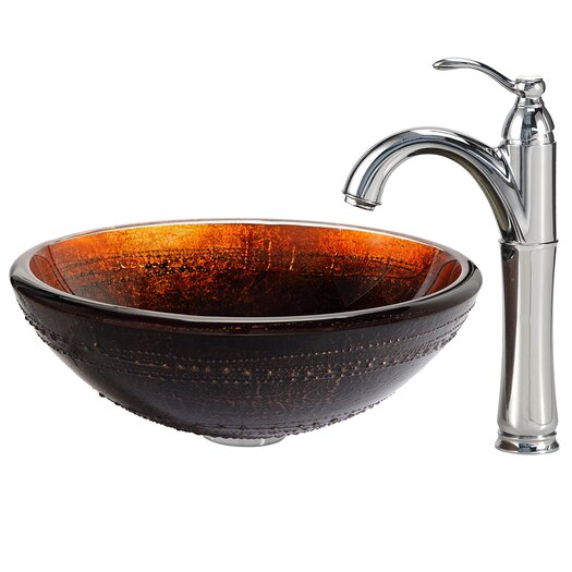 Kraus Prometheus Glass Vessel Sink with Riviera Faucet