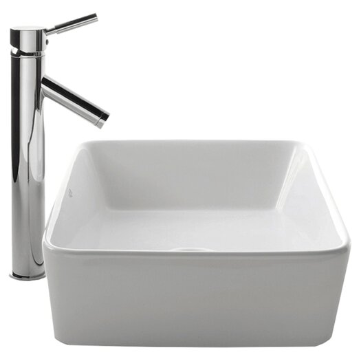 Kraus Ceramic Rectangular Bathroom Sink with Sheven Single Lever Faucet