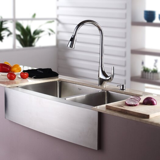 """Kraus 32.88"""" x 20.75"""" Farmhouse Double Bowl Kitchen Sink with Faucet and Soap Dispenser"""
