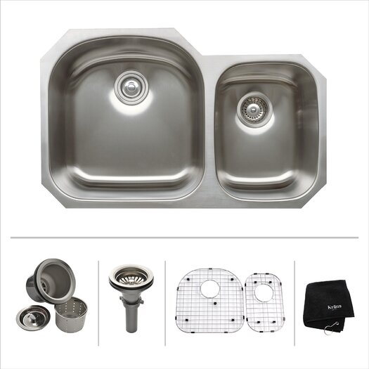"Kraus 31.5"" x 20.5 Undermount Double Bowl 60/40 Kitchen Sink"