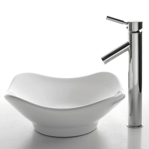 Kraus Ceramic Tulip Bathroom Sink with Sheven Single Lever Faucet
