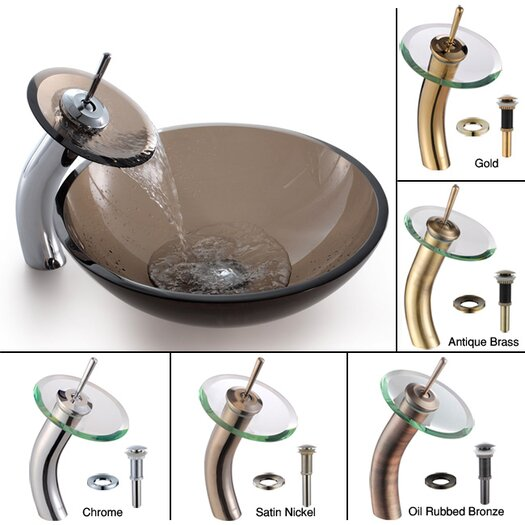 Kraus Clear Glass Brown Glass Vessel Sink and Rivera Faucet