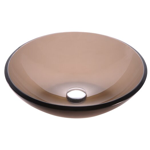 Kraus Clear Brown Glass Vessel Sink with PU-MR