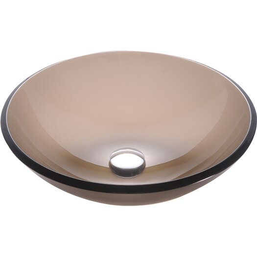 Kraus Frosted Brown Glass Vessel Sink with PU-MR