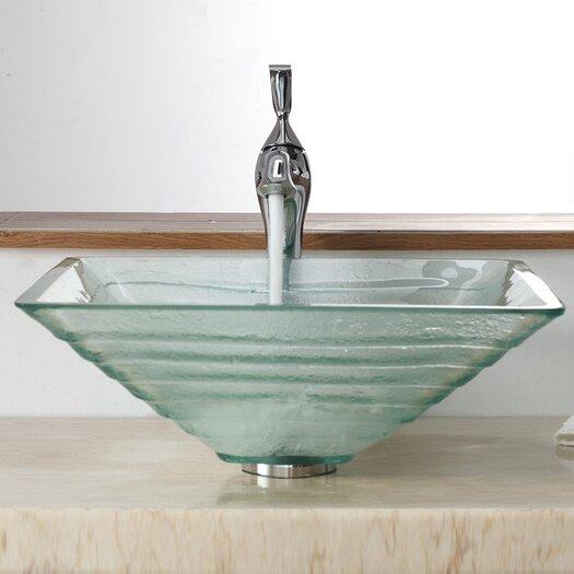 Kraus Bathroom Combos Alexandrite Glass Vessel Bathroom Sink with Single Handle Single Hole Faucet