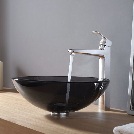 Kraus Glass Vessel Sink and Virtus Faucet