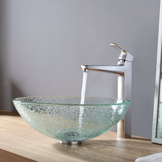 Kraus Virtus Broken Glass Vessel Bathroom Sink with Faucet