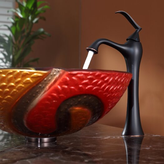 Kraus Copper Snake Glass Vessel Sink and Ventus Faucet
