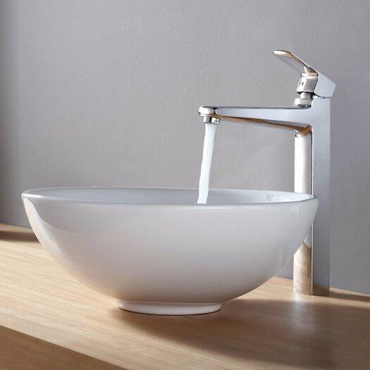 Kraus Virtus Round Ceramic Bathroom Sink with Faucet