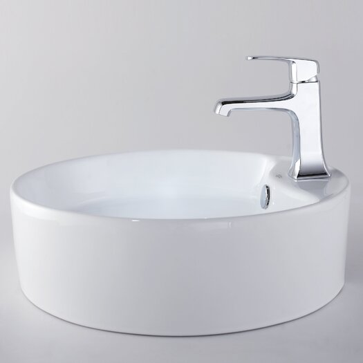 Kraus Decorum Round Ceramic Bathroom Sink and Basin Faucet