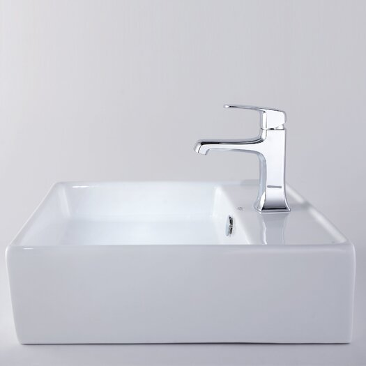 "Kraus 18.6"" W x 18.6"" L White Square Ceramic Sink and Decorum Basin Faucet"