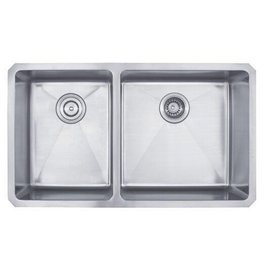 """Kraus 32.75"""" x 19"""" 6 Piece Undermount 60/40 Double Bowl Kitchen Sink"""