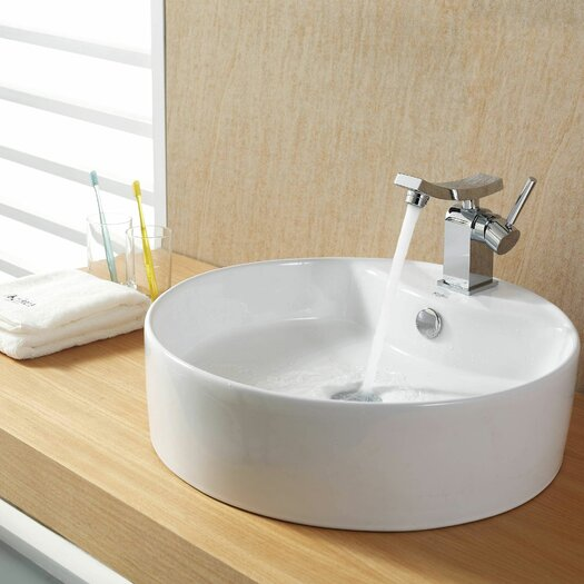 Kraus Bathroom Combos Bathroom Sink with Single Handle Single Hole Unicus Faucet