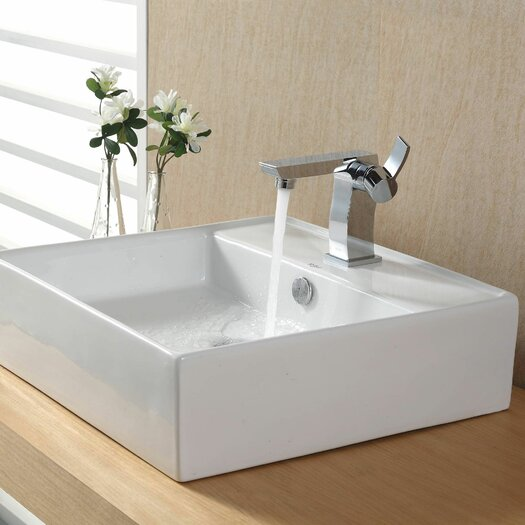 Kraus Bathroom Combos Bathroom Sink with Single Handle Single Hole Sonus Faucet