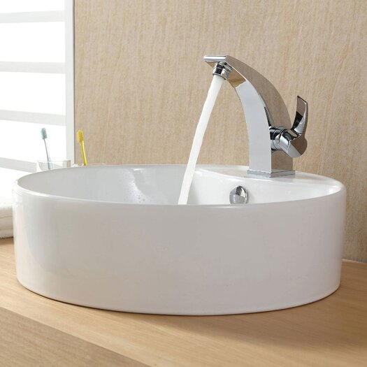 Kraus Bathroom Combos Bathroom Sink with Single Handle Single Hole Illusio Faucet