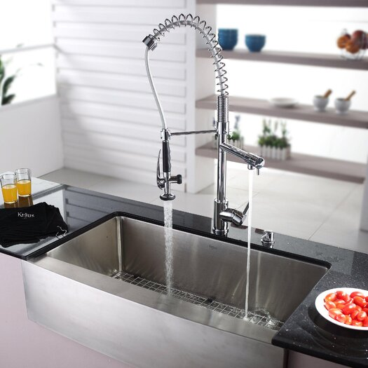 "Kraus 35.88"" x 20.75"" Farmhouse Kitchen Sink with Faucet and Soap Dispenser I"