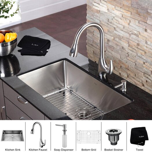"""Kraus 32"""" x 19"""" 6 Piece Undermount Single Bowl Kitchen Sink Set I"""