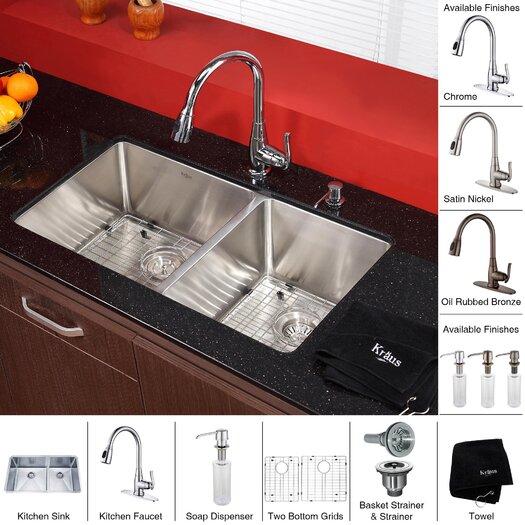 """Kraus 32.75"""" x 19"""" 8 Piece Undermount Double Bowl Kitchen Sink Set"""