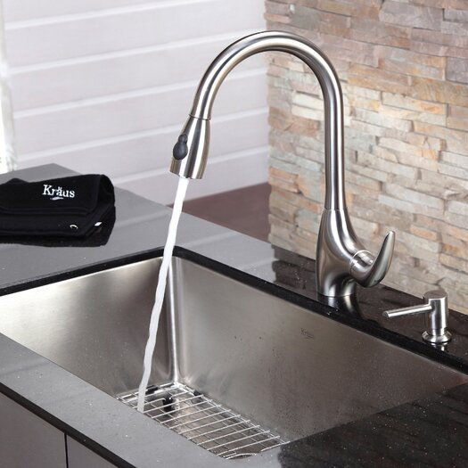 Kraus Kitchen Faucet with Soap Dispenser and Pull-Out Spray
