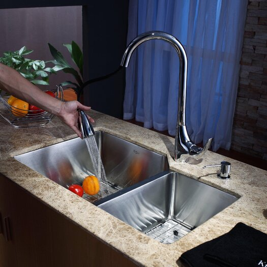 "Kraus 32"" x 20"" Undermount 70/30 Kitchen Sink with 18.5"" Faucet and Soap Dispenser"