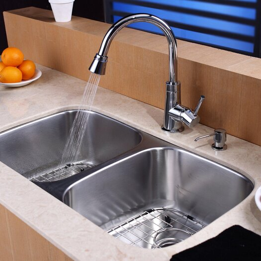 Kraus 38 Piece Undermount Double Bowl Kitchen Sink Set