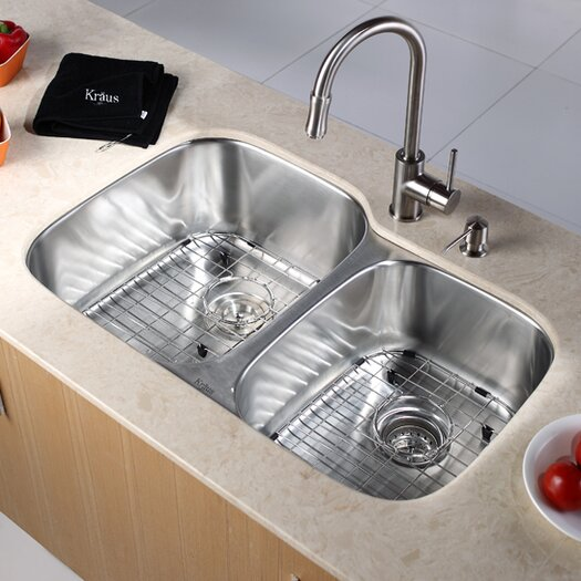 "Kraus 31.5"" x 20.5""  6 Piece Undermount Double Bowl 16 Gauge Kitchen Sink Set"