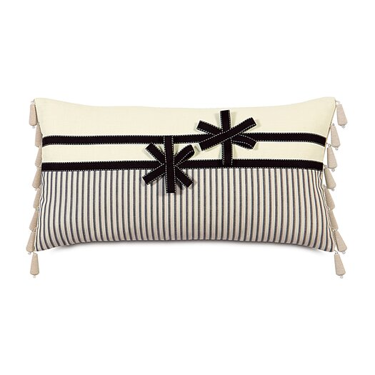 Eastern Accents Evelyn Polyester Breeze / Ascot Decorative Pillow with Ribbon Flowers