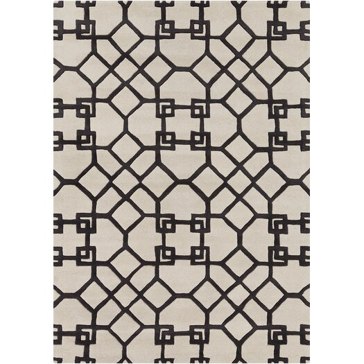 Chandra Rugs Davin White / Grey Geometric Rug