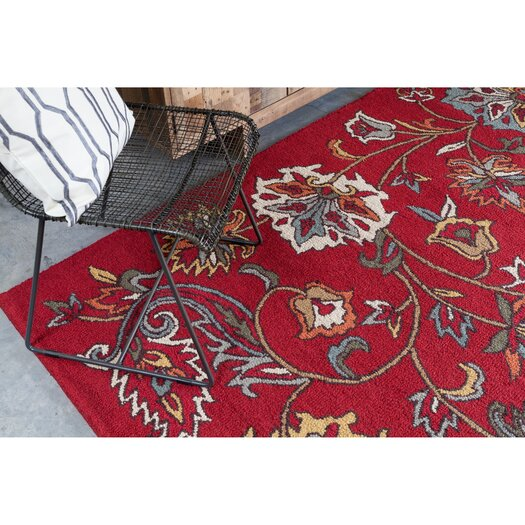 Chandra Rugs Ast Red Floral Area Rug
